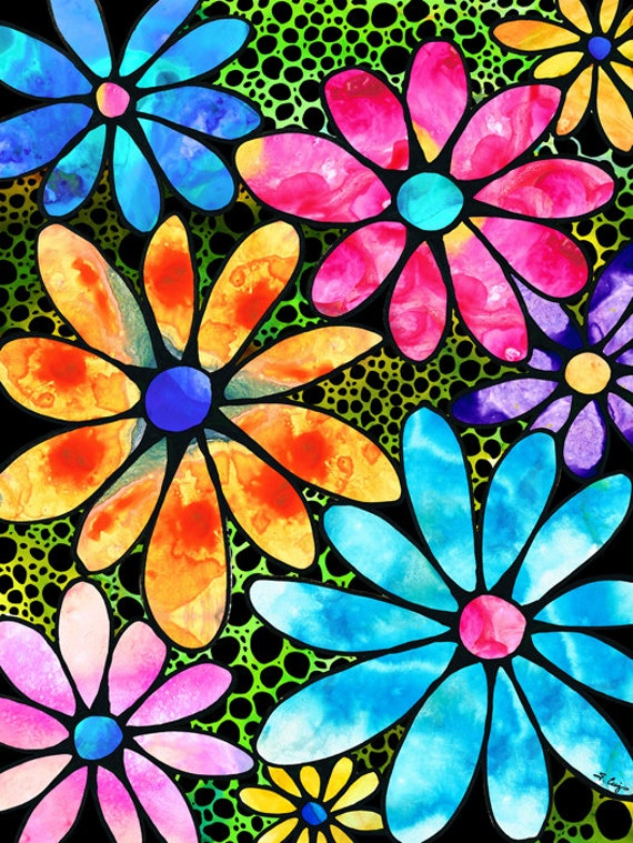 Colorful flower art print from painting spring daisy daisies mightylinksfo