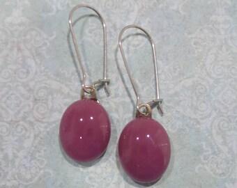 Pink Earrings, Kidney Wire Earrings, Dark Pink Drop, Modern Fused Glass Jewelry - Raspberry - -5