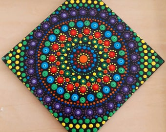 Hand Acrylic Painted Mandala on Canvas 10*10 cm , Meditation Mandala, Dot Art