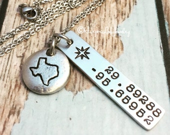 ALL 50 STATES ~ Texas Charm Necklace ~ Hand Stamped ~ Custom ~ GPS ~ Pewter Pebble ~ Coordinates ~ Latitude ~ Longitude ~ HarperLeeJewelry