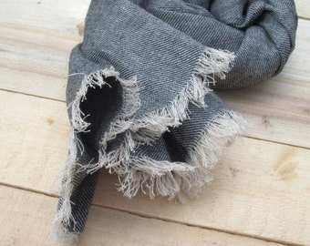 Black linen scarf with wool, scarf with knot fringe, Pure linen scarf, women scarf, Men scarf, Linen scarf organic, scarf linen, sale