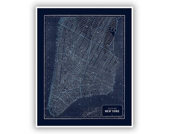 New York City Map 1842, NY Street Map, 1800s Antique, Blueprint Style, 3 Colors, Depicts NYC Streets, Brooklyn, Hudson River, East River