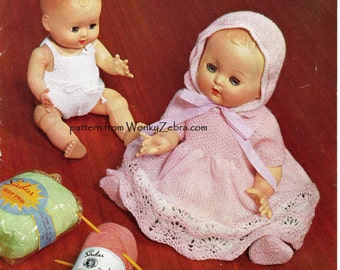 428 Baby Dolls Outfits Vintage PDF Knitting Knit Knitted Pattern Patterns from WonkyZebra and ToyPatternLand