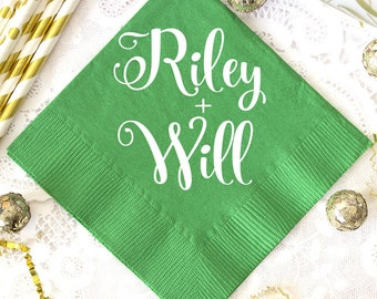 Personalized Napkins, Green Wedding Napkins, Beverage Napkins, Party Napkins, Wedding Favors, Anniversary Napkins, Monogrammed Napkins
