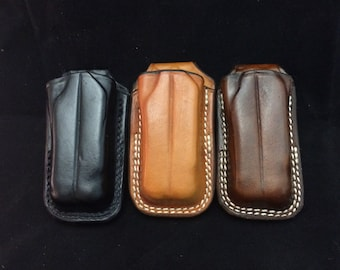 Custom leather open top leatherman sheath for the Wave