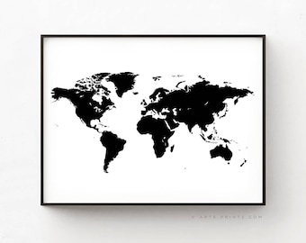 World map poster etsy world map poster world map printable modern world map black and white world gumiabroncs Gallery