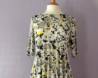 Vintage black & yellow skater dress