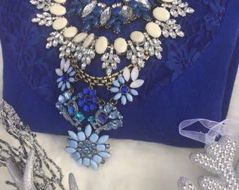 Blue crystal necklace,multistrand choker necklace, beyonce necklace, white statement necklace, crystal statement necklace, blue bib necklace