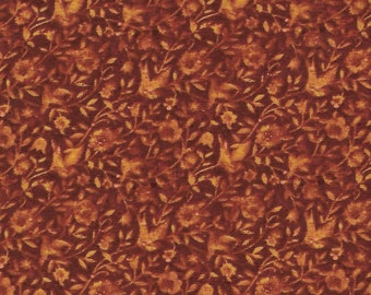 100 %  cotton fabric, 2 yards, rust with light rust flowers, Kansas Song, quilting, sewing, crafting