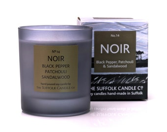 NOIR - Black pepper, Patchouli and Sandalwood - handmade scented candle 100% soy wax in a smoked glass container 200g