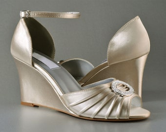 Wedding Shoes - Custom 250 hand dyed Colors- PB103 Women's Bridal Wedge Shoes