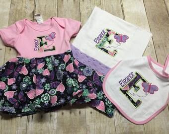 Burp cloth, bib and matching onesie set GIRL