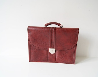 School bag, Briefcase 70s Bordeaux leatherette, file folder, document folder, work bag, laptop bag, bag claret