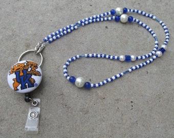 Kentucky Wildcats Beaded Lanyard Blue & White Retractable Badge Reel
