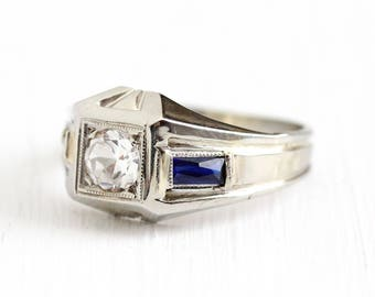 Sale - Art Deco Ring - 18k White Gold Created White & Blue Sapphire Engagement - Vintage 1930s Size 7 1/4 Alternative Fine Gem Jewelry