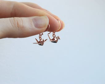 Rose Gold Vermeil origami Bird Earrings - Cute Earrings, Pink Earrings, Dangling Earrings, Bird Earrings