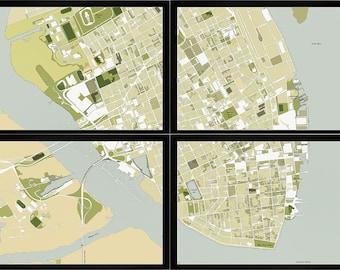 CHARLESTON MAP, Map of Charleston,  South Carolina Map, Charleston Print, 4 section Map