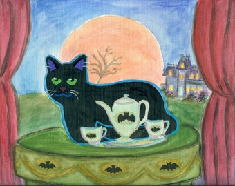 SALE! ORIGINAL  PAINTING, Black Cat under a Full Moon, with Rare Batman China and Sideboard, D M Laughlin