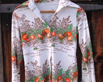 Fresh Squeezed Vintage Orange Novelty Print Seventies Shirt