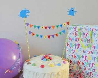 Monster theme personalised cake top bunting
