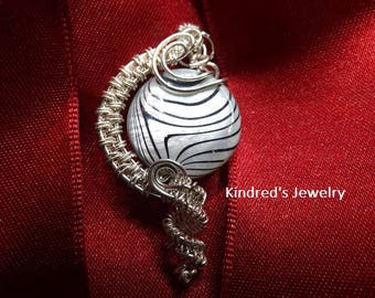 Wire Wrapped Pearl Coin Bead.