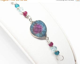 25% OFF Watermelon Tourmaline, Topaz, Aquamarine, and Ruby Gemstone . Sterling Silver Layering Bracelet . Aqua Blue, Berry Pink, Light Blue