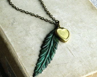 Long Feather Necklace, Locket with Long Chain