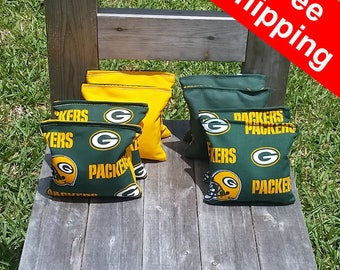 "FREE SHIPPING! Green Bay Packers set of 8 corn hole bags, top notch quality: 6"" regulation size!"