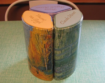 Artists Trio Tin Vintage Tins and Containers Van Gogh Renoir, and Monet