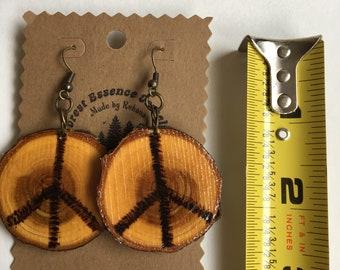 Finished Wood Slice Peace Symbol Earrings