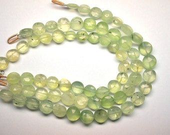 Sale-7.5 Inch 8-9mm Natural Prehnite Faceted Coin Briolette Beads Strand-22 Beads/Strand Apx