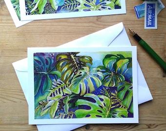 Tropical Leaf Greeting Card - Monsteras Watercolour Leaf Design