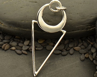 Sterling Silver, Triangle with Crescent, Crescent Circle, Geometric Pendant, Geometric Charm, Geometric Jewelry, Silver Triangle Pendant