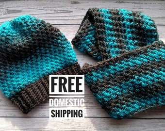 Gray and Teal Infinity Scarf and Slouchy Hat Set, Winter Baggy Hat Set, Grey Crochet Loop Scarf,  Endless Cowl with Matching Hat, Knit Scarf