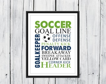 Soccer Word Art Print -  Custom Colors and Sizes