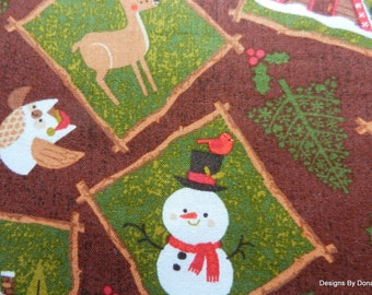 "CLEARANCE SALE-One Fat Quarter Cut of Quilt Fabric, Christmas, ""Northwoods Friend's"" Line, Patches on Brown, Sewing-Quilting-Craft Supplies"