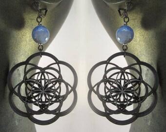 Seed of Life earrings, laser cut, mandala, flower of life, sacred geometry, lace agate, laser cut jewelry, wood earrings, phresha