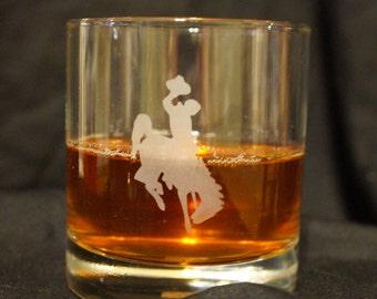 Wyoming Cowboys Etched Whiskey Glass- UW Whiskey Glass - Wyoming Cowboys- UW Cocktail Glass - Wyoming Glassware- Whiskey Set - Bar Glass