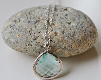 Silver Erinite Teardrop Pendant Necklace