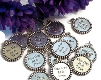 5pc / 10pc One Day At A Time ODAT Pendant Charms - 12 Step Recovery Alcoholics Narcotics Anonymous - Small