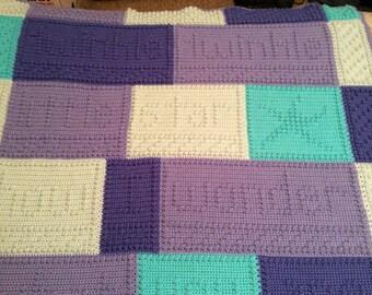 Crocheted afghan, blanket