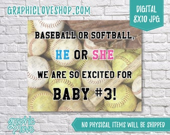 Digital 8x10 Baseball or Softball Pregnancy Announcement | Baby #3, Sports, Photo Prop | High Res JPG File, Instant download, Ready to Print