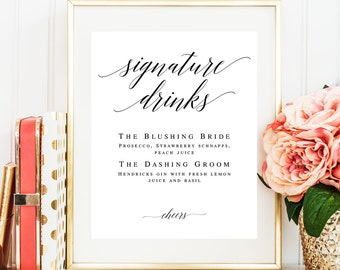 Signature cocktail sign Editable template Wedding sign Bar menu template Signature drink sign download Wedding bar menu Cocktail menu #vm51