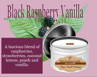 Black Raspberry Vanilla Scented Soy Candle Tin (8 oz.)