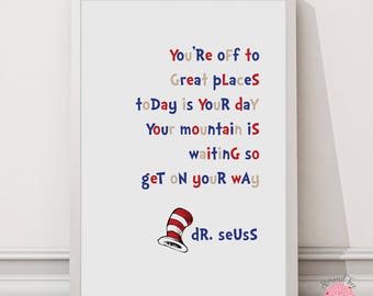 Dr. Seuss - Mountain is waiting - 8 by 10 inch wall art print