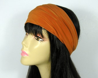 Rust Head Wrap Burnt Orange Lycra Headwrap Rust Fitness Headwrap Headgear Athletic Headgear Orange Headband Lycra Headband Orange Headwrap