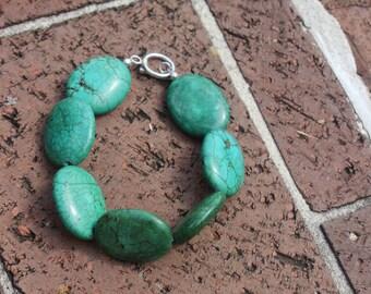 Deep Sea Oval Turquoise Beaded Bracelet