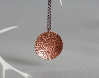 Copper Pendant Necklace Copper Hammered Pendant Boho Copper Jewelry Hammered Necklace Disc Necklace Simple Necklace Minimalistic Necklace