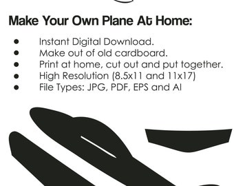 Cardboard Airplane Template - Airplane cutout on paper cardboard, Airplane DIY project - INSTANT DOWNLOAD (09855)