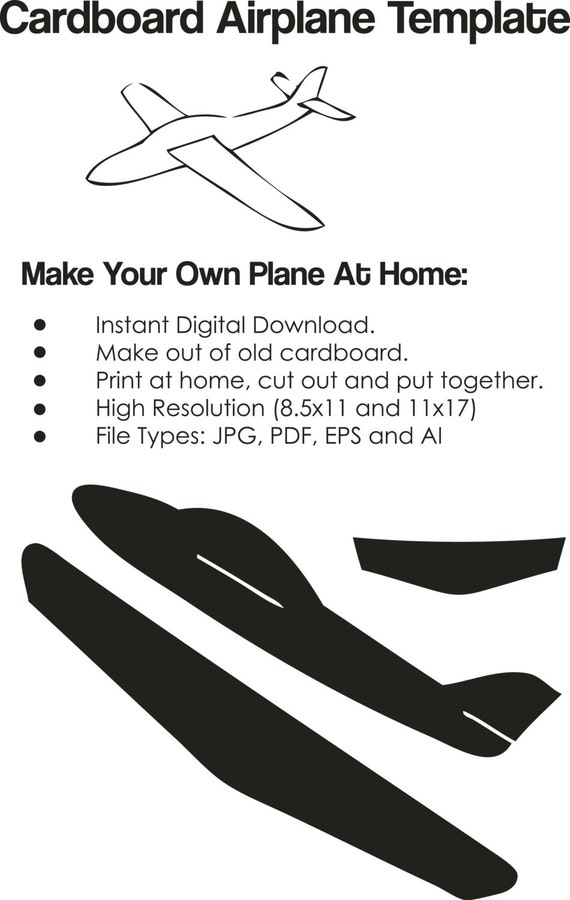 Cardboard Airplane Template Airplane cutout on paper